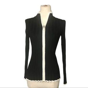 Belldini S black zip front sweater with white trim